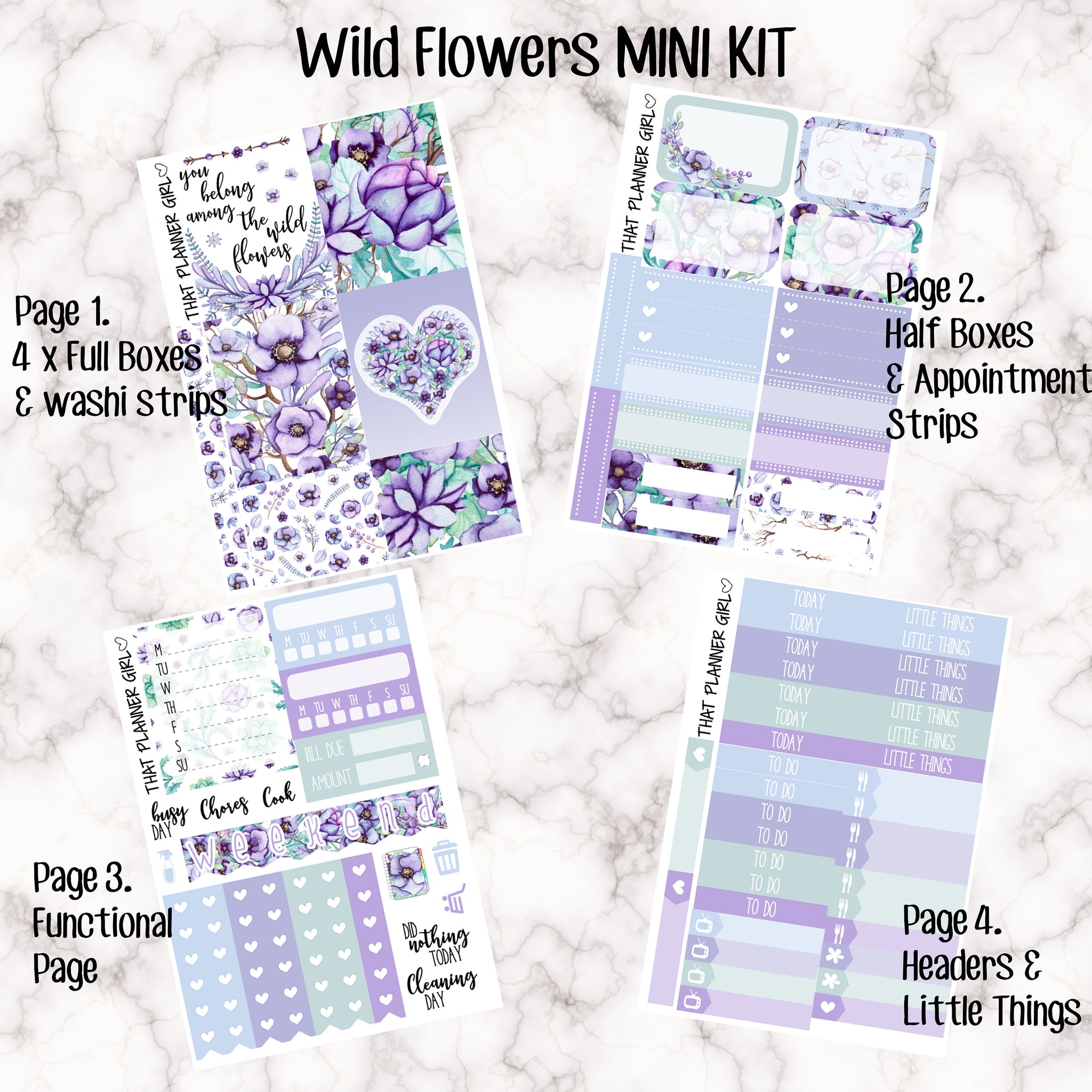 Wild Flowers Mini Kit - Sheets available individually or as a full kit!! - Small Kit for White Space Planning!