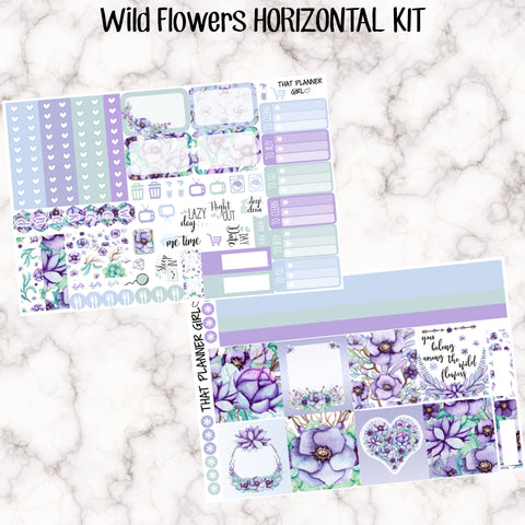 Wild Flowers Kit - HORIZONTAL - Erin Condren Planner Stickers - full boxes, 1/2 boxes, washi, icons, weekend banner + more