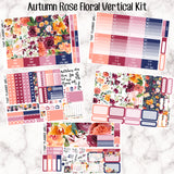 Autumn Rose/Fall Floral Full Kit - VERTICAL weekly kit - Individual sheets available or full kit!! Erin Condren Style Planner Stickers