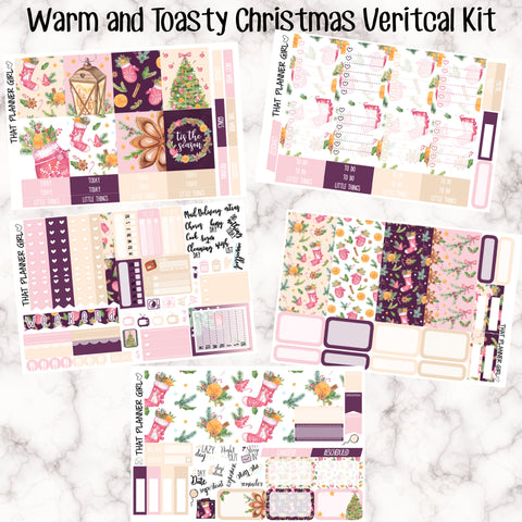Warm and Toasty Christmas Full Kit - VERTICAL weekly kit - Individual sheets available or full kit!! Erin Condren Style Planner Stickers