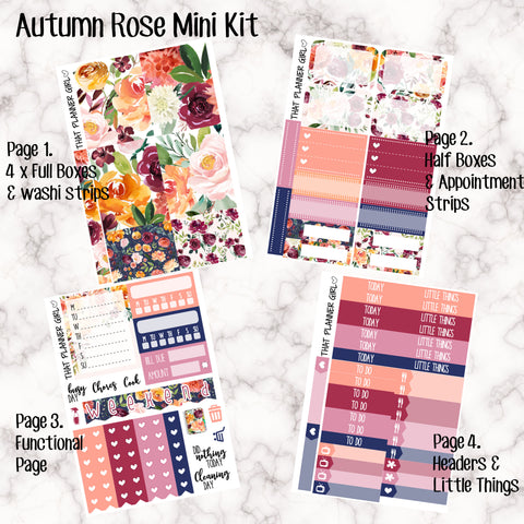 Autumn Rose/Fall Floral Mini Kit - Sheets available individually or as a full kit!!