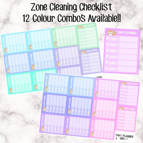 Zone Cleaning Checklist - 12 Colour Variations Available! -11 stickers per sheet! - use to track weekly cleaning! EC side bar -Premium Matte