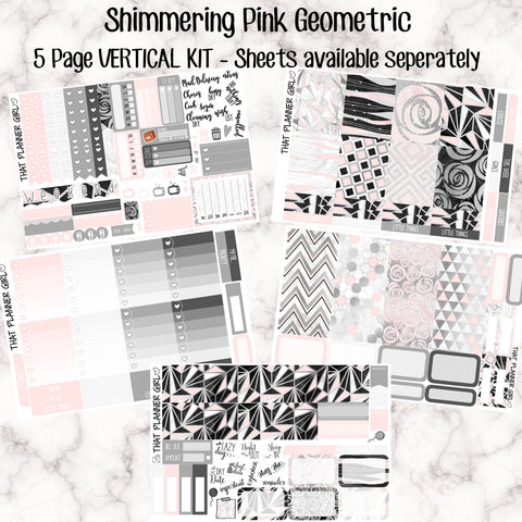 Shimmering Pink Geometric - VERTICAL weekly kit - Individual sheets available or full kit!! Erin Condren Style Planner Stickers - A la carte