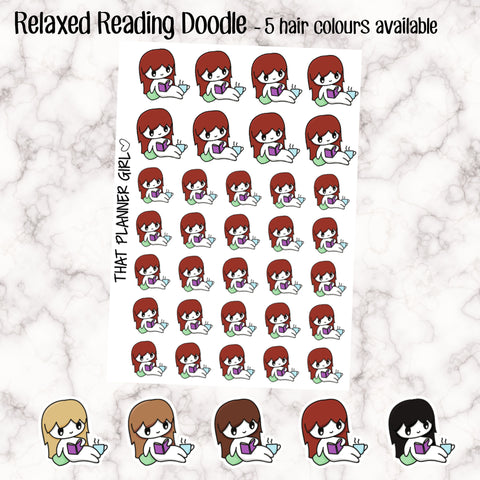 Girl Reading Doodle Stickers
