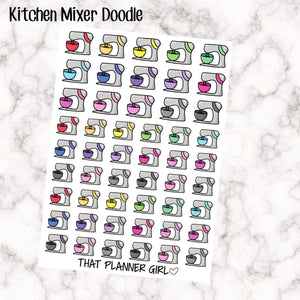 Kitchen Mixer Doodles - Mixer, Food Processor, Stand Mixer - Mark baking or cooking time with these cute hand drawn original stickers