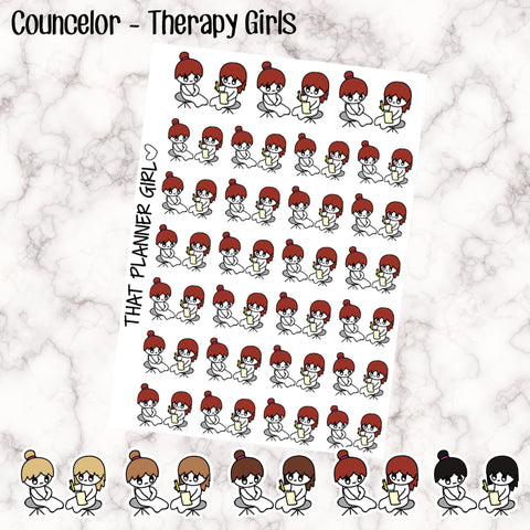 Counselor/Therapy/Psychologist Doodle - 5 Hair Options - Perfect for marking therapy sessions, counselling etc - Hand Drawn Artwork