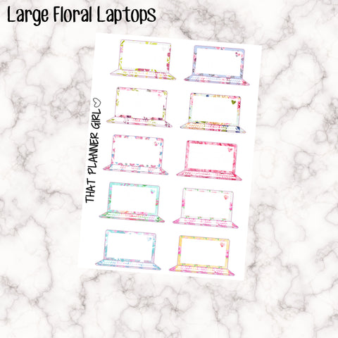 Mixed Floral Laptops - Large Laptops (3.8cm Wide) - Perfect for marking study, work, designing etc - Fits most planners!