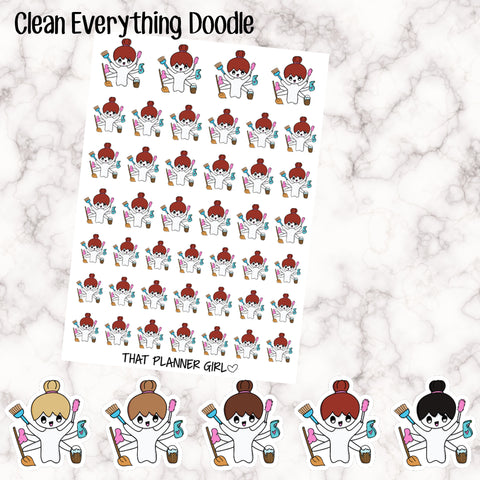 Clean Everything/Cleaning Doodle - 5 Hair Options - Perfect for marking cleaning days, big clean, spring cleaning etc - Hand Drawn Artwork