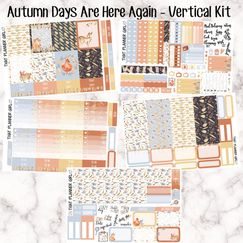 Autumn Days Are Here Again - VERTICAL weekly kit - Individual sheets or full kit!! Erin Condren Style Planner Stickers