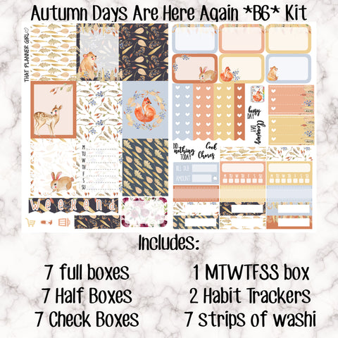 Autumn Days Are Here Again B6 or No white space kit - Weekly Kit for the no 5 Foxy Fix or B6 Planner -Folds to fit in a TN! EC sized boxes!