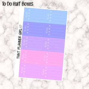 To Do 4 Check Boxes - Half Box Size Stickers