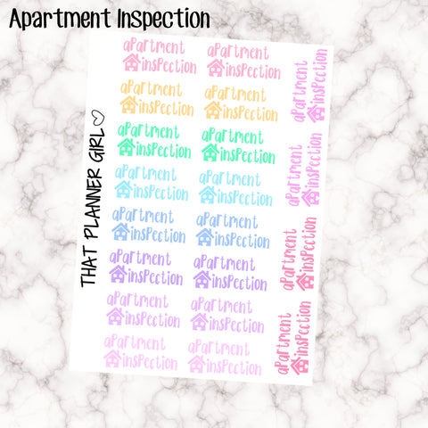 Apartment Inspection Kawaii Stickers- Pastel Colours - 20 stickers per sheet - perfect for inspection/cleaning - Premium Matte