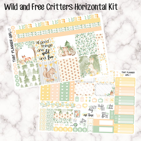 Wild and Free Critters - HORIZONTAL kit - Erin Condren Planner Stickers - full boxes, 1/2 boxes, washi, icons, weekend banner + more