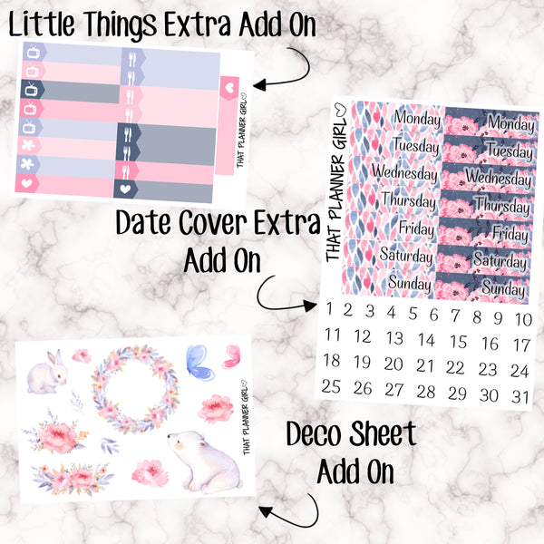 Winter Florals - HORIZONTAL kit - Erin Condren Planner Stickers - full boxes, 1/2 boxes, washi, icons, weekend banner + more