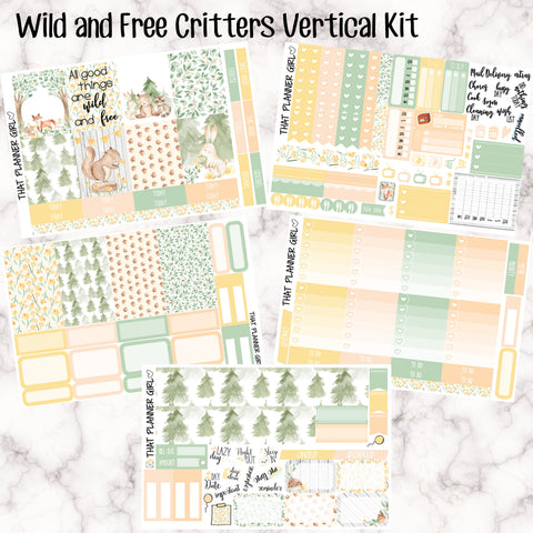 Wild and Free Critters - VERTICAL weekly kit - Individual sheets or full kit!! Erin Condren Style Planner Stickers - A la carte stickers