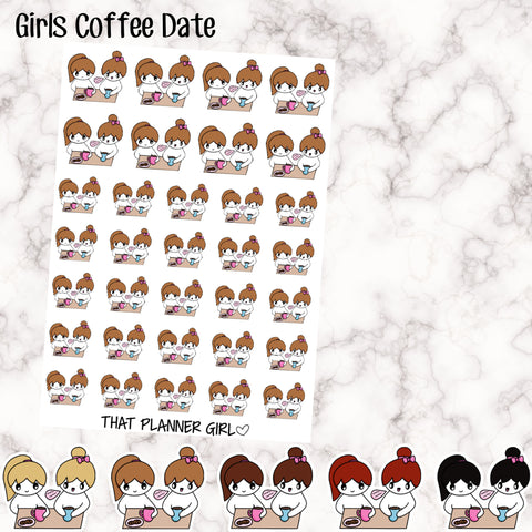 Friends / Mum-Daughter Coffee Date- 5 Hair Options -Perfect for marking coffee time, coffee break, tea dates etc etc - Hand Drawn Artwork