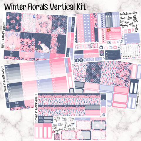 Winter Florals - VERTICAL weekly kit - Individual sheets or full kit!! Erin Condren Style Planner Stickers