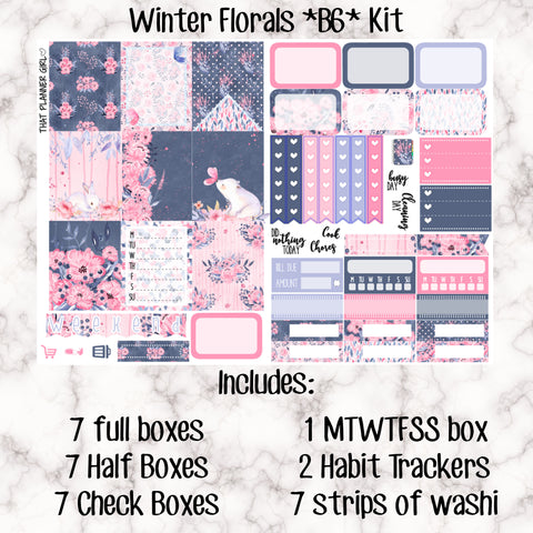 Winter Floral B6 Kit- Weekly Kit for the Number 5 Foxy Fix or B6 Planner -Folds to fit in your TN! EC sized boxes!