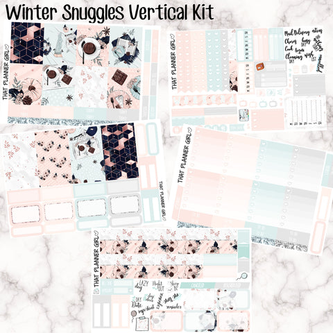 Winter Snuggles - VERTICAL weekly kit - Erin Condren Planner Stickers - inc. full boxes, 1/2 boxes, checklists etc! Optional Date Covers
