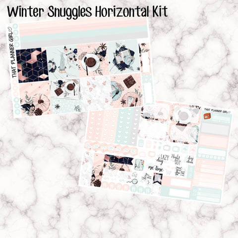 Winter Cuddles - HORIZONTAL kit - Erin Condren Planner Stickers - full boxes, 1/2 boxes, washi, icons, weekend banner + more