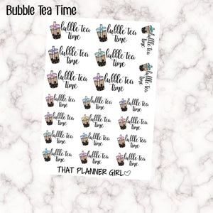 Bubble Tea Time Script Sticker