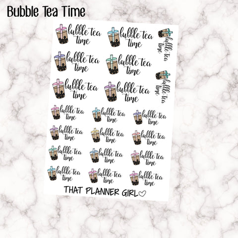 Bubble Tea Time Script Sticker Hand Drawn Original Artwork - Perfect for marking bubble tea days!