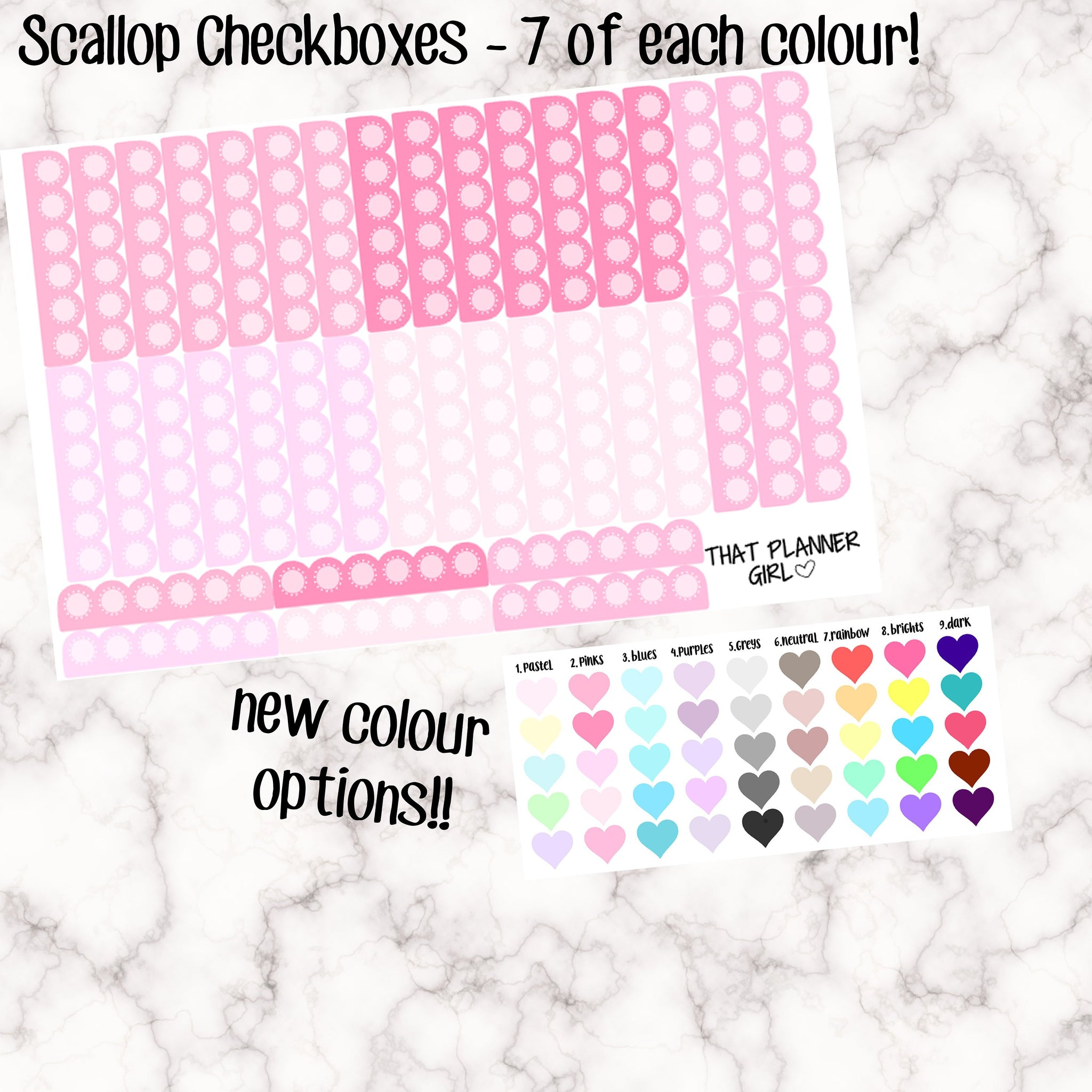 Scallop Checklists / Circle Check Box Stickers