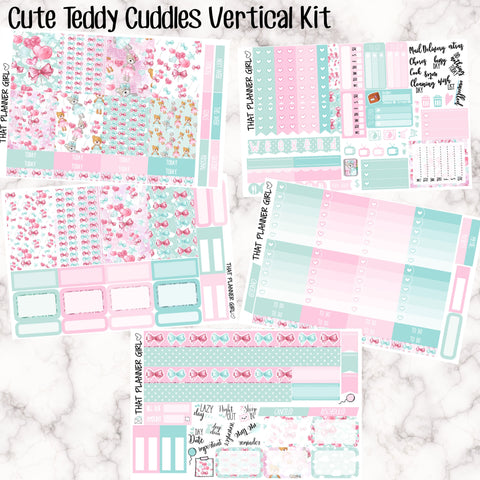 Cute Teddy Cuddles - VERTICAL weekly kit - Erin Condren Planner Stickers - inc. full boxes, 1/2 boxes, checklists etc! Optional Date Covers