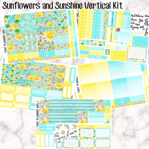 Sunflowers and Sunshine - VERTICAL weekly kit - Erin Condren Planner Stickers - full boxes, 1/2 boxes, checklists etc! Optional Date Covers