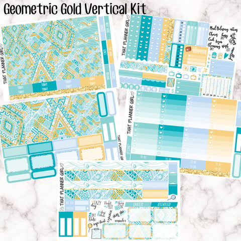 Geometric Gold - VERTICAL weekly kit - Erin Condren Planner Stickers - inc. full boxes, 1/2 boxes, checklists etc! Optional Date Covers