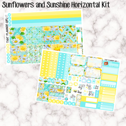 Sunflowers and Sunshine - HORIZONTAL kit - Erin Condren Planner Stickers - full boxes, 1/2 boxes, washi, icons, weekend banner + more