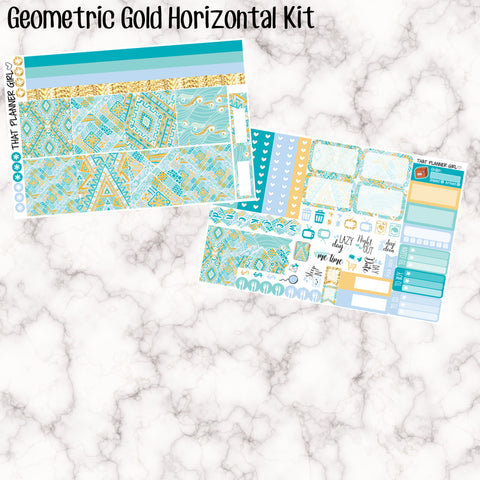Geometric Gold - HORIZONTAL kit - Erin Condren Planner Stickers - full boxes, 1/2 boxes, washi, icons, weekend banner + more
