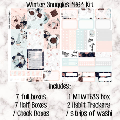 Winter Snuggles - Weekly Kit for the Number 5 Foxy Fix or B6 Planner -Folds to fit in your TN! EC sized boxes!