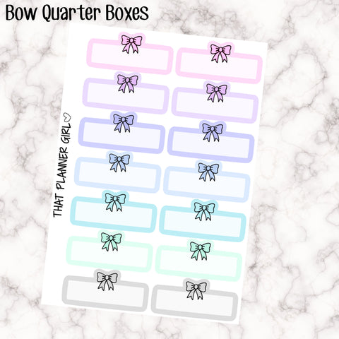 Bow Quarter Boxes - Perfect for decorating your Erin Condren Vertical Planner EC or traveler's notebook - Cute and Functional Stickers
