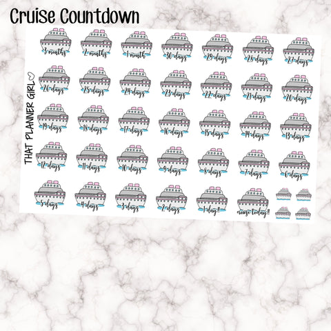 Cruise Countdown Stickers ! Hand Drawn Original Artwork - Perfect for marking holidays, vacation, travel etc!