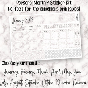 Marble Personal Monthly Sticker Kit