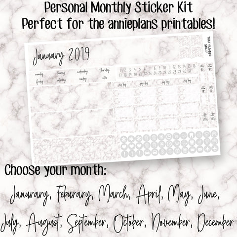 Marble Personal Monthly Sticker Kit - Designed to fit in the Annie Plans Printable Personal Monthly Inserts