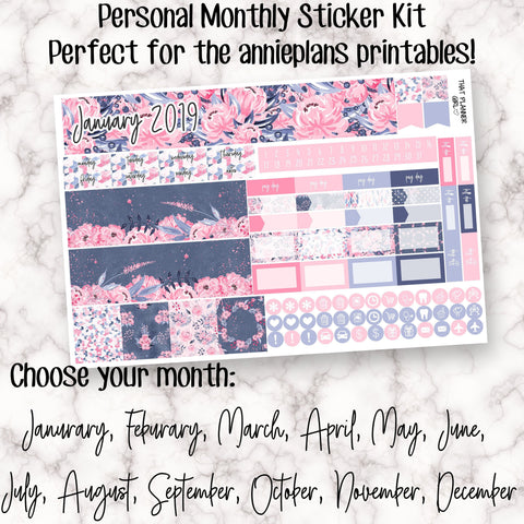 Personal Monthly Sticker Kit - Designed to fit in the Annie Plans Printable Personal Monthly Inserts