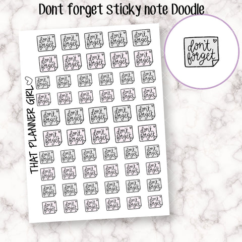 Don't Forget Sticky Note Doodle Sticker - Pastel Pink and Grey - Perfect for the Erin Condren or Traveler's Notebook Planner