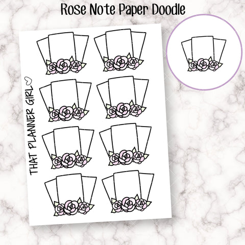 Rose Note Paper Doodle Stickers