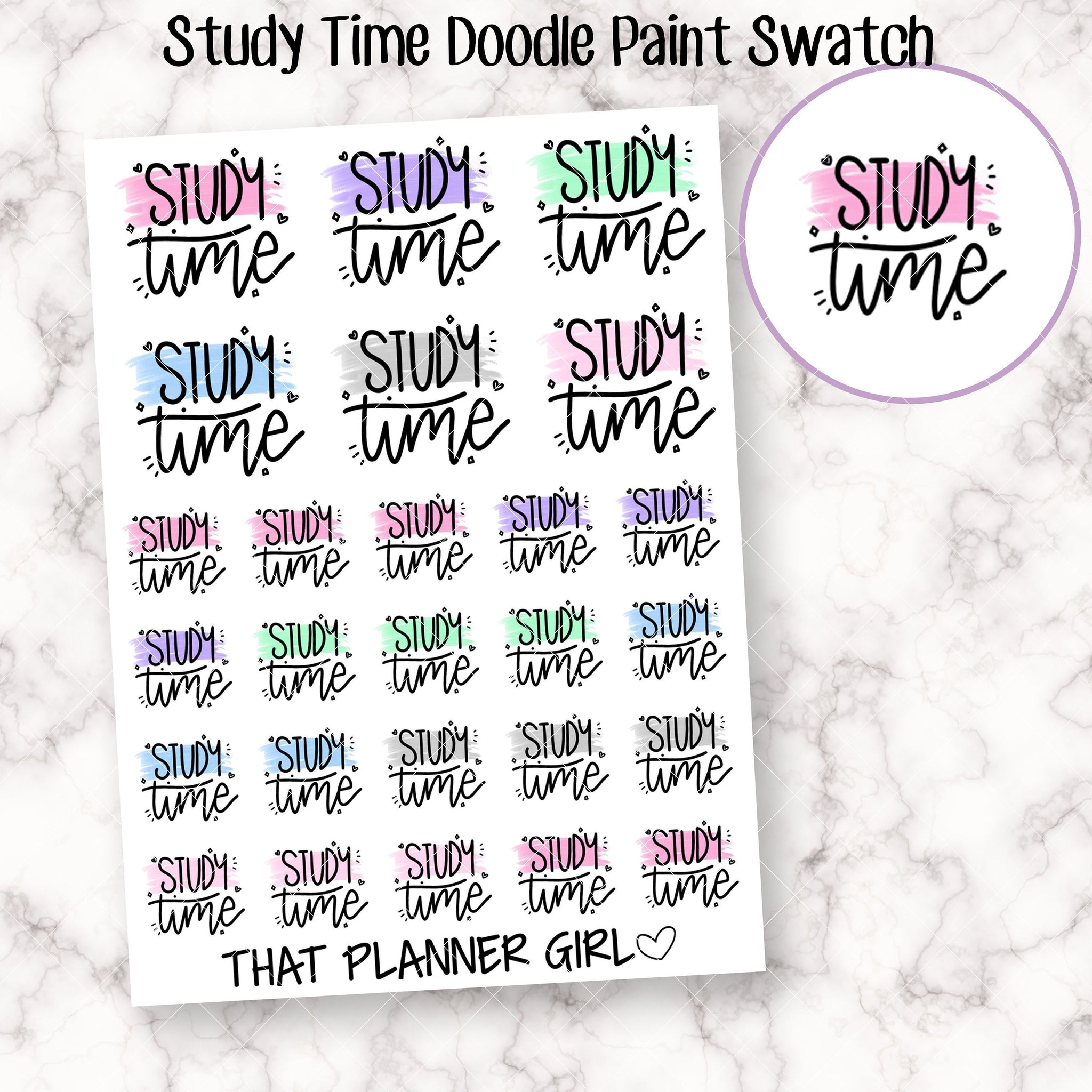 Study Time Paint Swatch Stickers