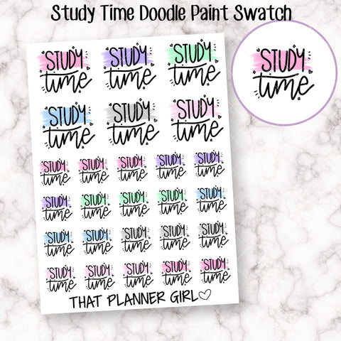 Study Time Paint Swatch - Cute stickers to mark study time / class /uni /school - Planner Stickers - Hand Drawn Doodles!