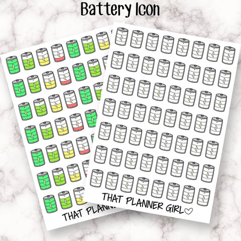 Battery Icon Sticker - Cute stickers to mark daily energy levels - chronic fatigue, illness, spoonie Planner Stickers - Hand Drawn Doodles!