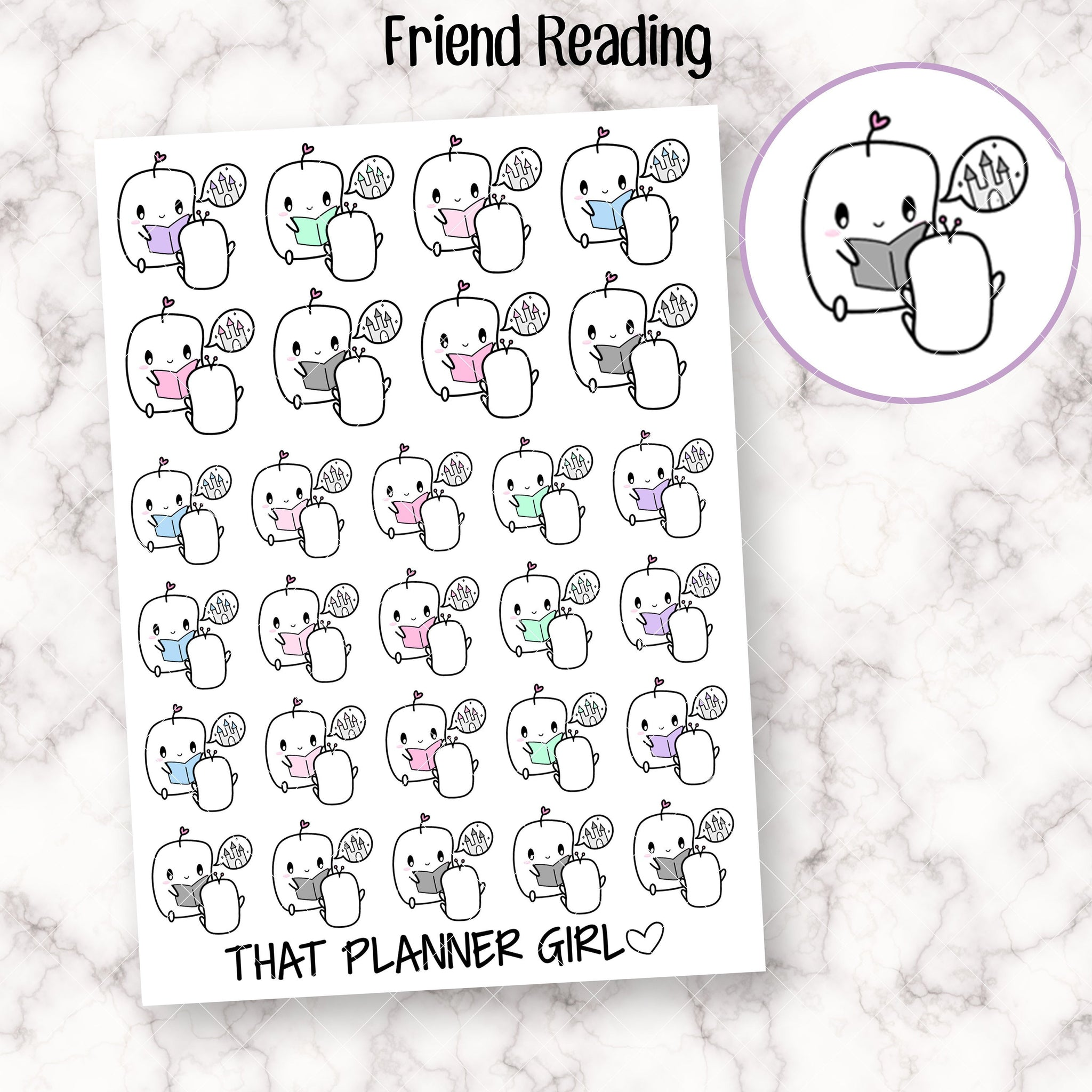 Friend Reading Stickers