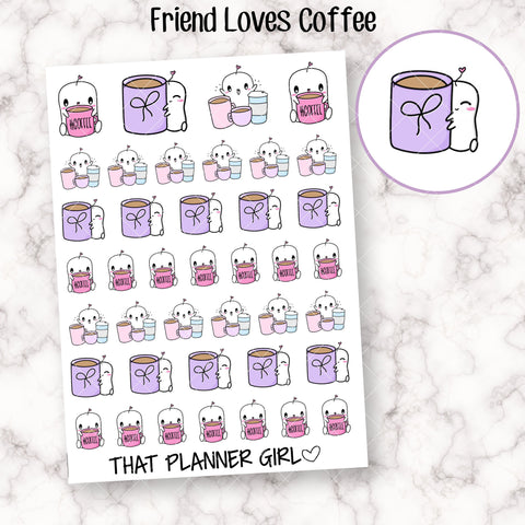 Friend Loves Coffee - Cute hand drawn original character sticker! Friend with coffee cups! Planner Stickers - Hand Drawn - perfect for TN!