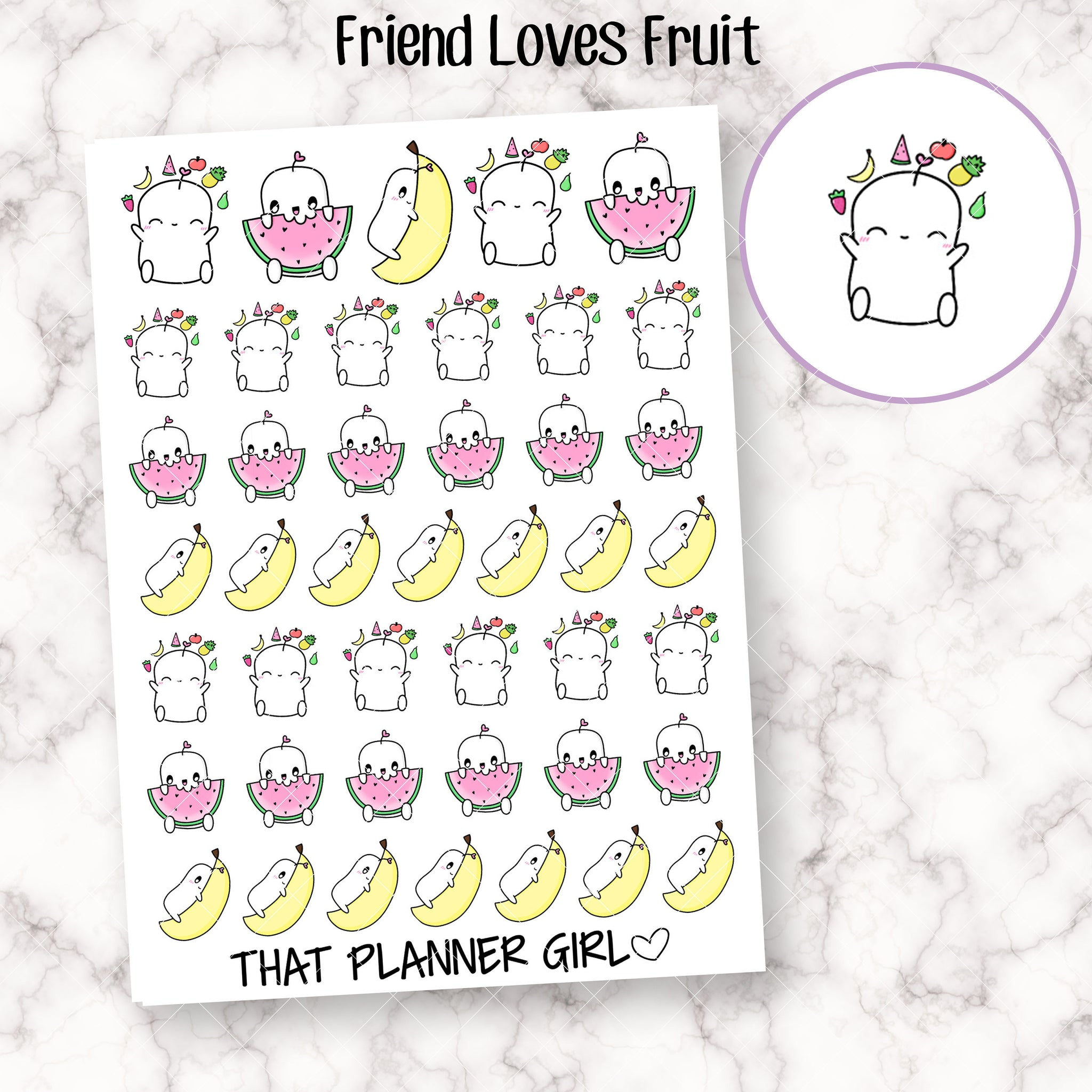 Friend Loves Fruit Stickers