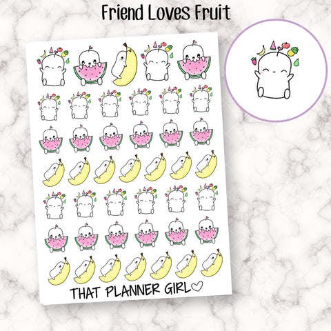 Friend Loves Fruit - Cute hand drawn original character sticker! Perfect for healthy eating or vegan stickers! Planner Stickers - Hand Drawn
