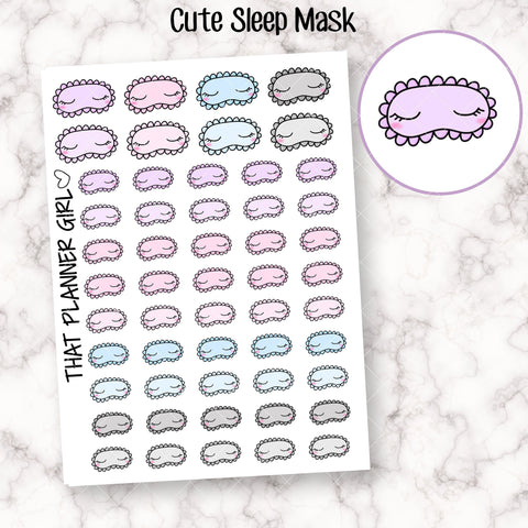Sleep Mask Doodle Sticker - Cute stickers to mark lazy mornings or sleep in days! Original Doodle - Planner Stickers - Hand Drawn Doodles!