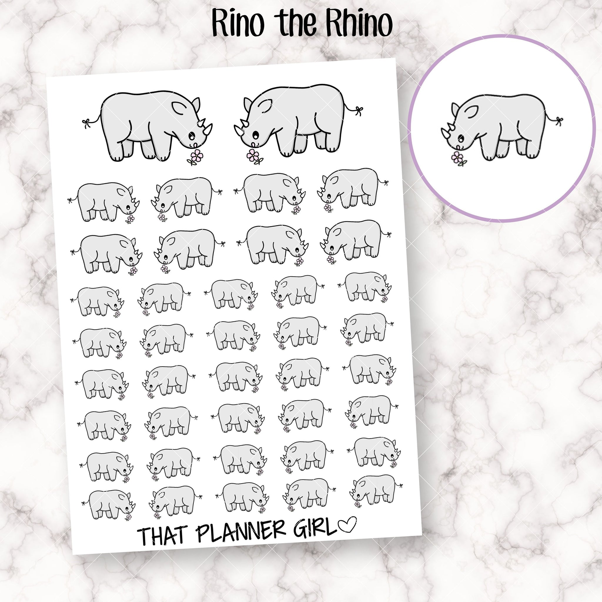 Rino the Rhino Doodle Stickers