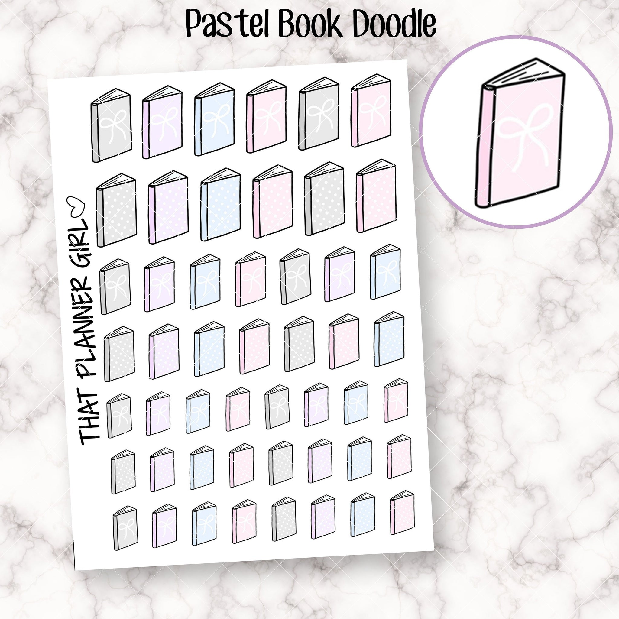 Book Icon Doodle - Pastel Bow and Polka Dot